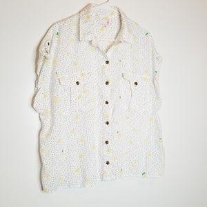 Button Down Short Sleeve Blouse